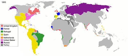 کشورهای مستعمره اروپا در سال ۱۸۰۰
