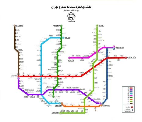 نقشه ی خطوط بی آر تی تهران