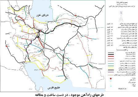 نقشه خطوط راه آهن ایران
